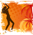 Dancing girl on grunge background vector image
