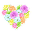 Decorative heart with delicate flowers object for