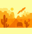 desert landscape with eagle cactus and sun vector image vector image