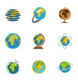earth icons set flat style vector image vector image