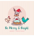 fun christmas animal cartoon holiday greeting card vector image vector image