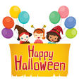 Girls with Happy Halloween Banner vector image