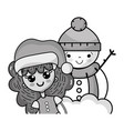 grayscale girl with christmas clothes and snowman vector image