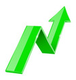 green 3d up arrow financial graph vector image