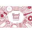 hand drawn fast food banner street food top view vector image vector image