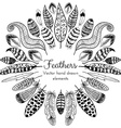 Hand drawn Feathers Frame vector image