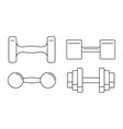 hand dumbell icon set outline style vector image