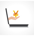 hand holding yen symbol comes from laptop screen vector image vector image