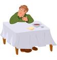 happy cartoon man eating soup at table vector image vector image