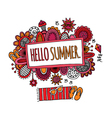 Hello Summer Hand Drawn Doodle Bright vector image