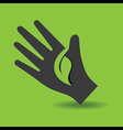 Human hand with green leaf symbol concept vector image