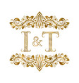 i and t vintage initials logo symbol the letters vector image vector image