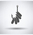 icon of worm on hook vector image