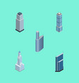 isometric building set of cityscape building vector image vector image