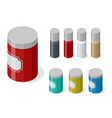 isometric set variety spices in glass and vector image