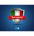 italy shield with ribbon buon appetito on blue vector image vector image