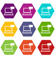 laptop with bubble speech icon set color vector image vector image