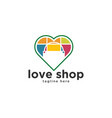 love shop bag logo design inspiration vector image