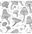 Mushrooms in boho style with ornaments seamless