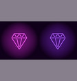neon diamond in purple and violet color vector image vector image