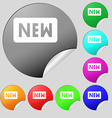New icon sign Set of eight multi-colored round vector image vector image
