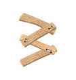 number 3 wood board font three symbol plank and vector image vector image
