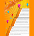 orange infographic paper on yellow background vector image vector image