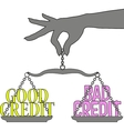 Person Good Bad Credit scales choice vector image