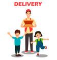pizza delivery service cartoon vector image vector image