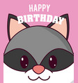 raccoon cute birthday card vector image vector image