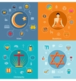 Religions flat set vector image vector image
