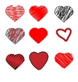 Scribble hearts hand drawn doodle heart shapes vector image vector image