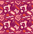 seamless doodle art pattern in red vector image vector image