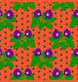 seamless floral pattern with purple gloxinia vector image