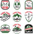 Set of kayak tours emblems kayaking canoeing