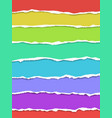 seven oblong torn paper wisps different colors vector image vector image