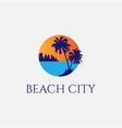 sunset palm beach city silhouette logo design vector image