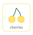 sweet cherry icon yellow merry outline flat vector image