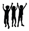 trio happy kid silhouettes vector image vector image