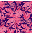tropical leaves in rose coral and deep blue colors vector image vector image