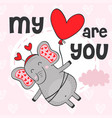 valentine elephant flies on balloon vector image vector image
