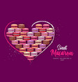 valentines day background with french macaroons vector image
