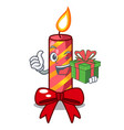 with gift christmas candle combined with pita vector image vector image