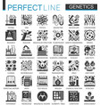 biochemistry genetics black mini concept icons and vector image