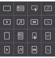 black tablet icons set vector image vector image