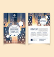 brochure template with cityscape at night vector image