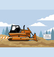 bulldozer flat style on the site vector image vector image