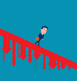 business person walking down falling arrow vector image