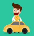 Businessman putting coin inside the car vector image vector image