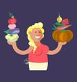 cartoon character vegetables seller vector image vector image